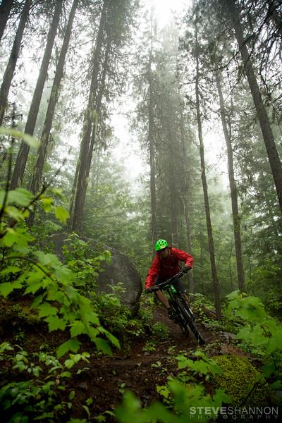Mountain Biking, Cross-country biking, forest, fog, Rossland, British Columbia, Canada,