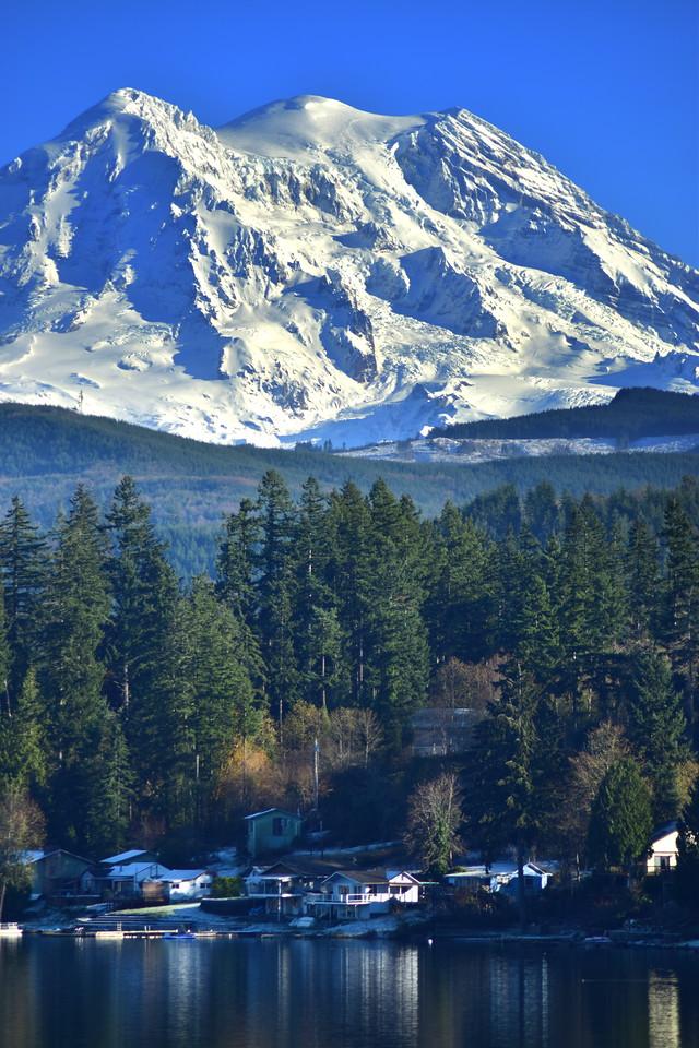 Mount Rainier looks over Clear Lake, Eatonville, WA