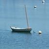 This catboat floats lightly in Vashon Island's Quartermaster Harbor.