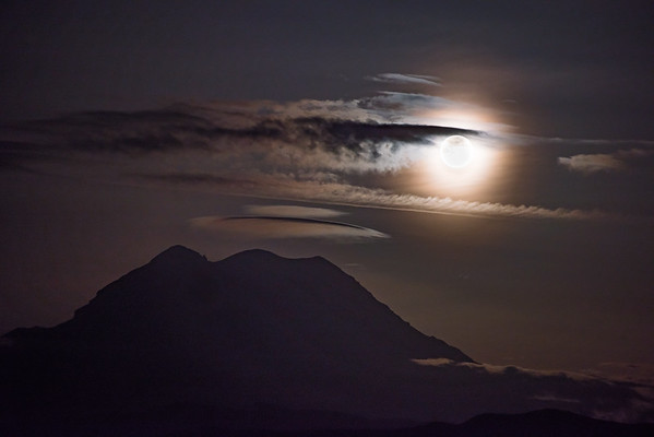 Full Moon Above Mt Rainier