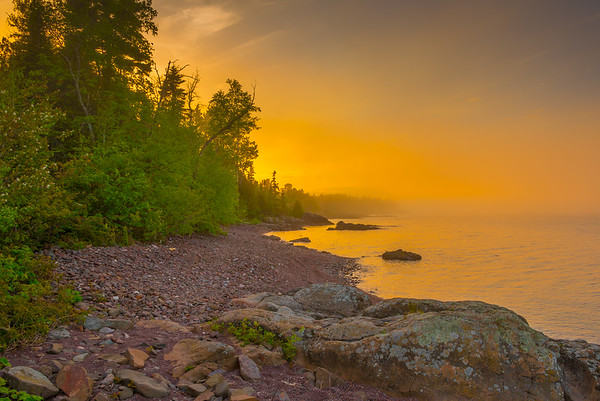 Foggy High Rock Bay Beach Sunset