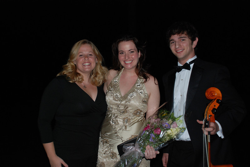 Young Alumni Kellyn Zeuner '04 (chorale), Erin Kemp 01 (soloist), and Mitch Steinberg '07 (cello)
