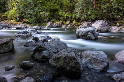 The south fork of the Snoqualmie River, near Twin Falls.  Long exposure with a neutral density filter.  May 20, 2017, about 9:00 AM.