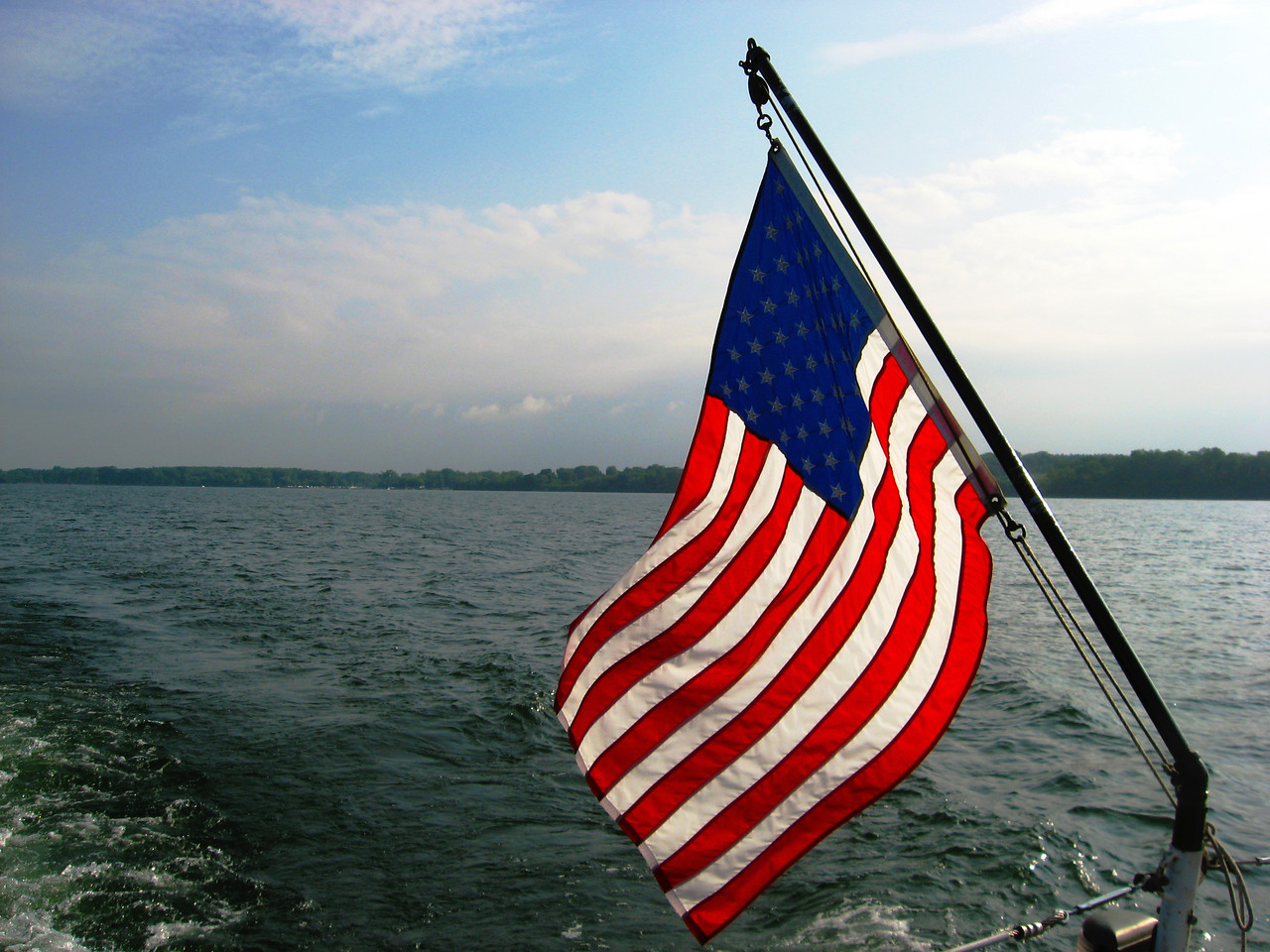American Flag on Seneca Lake