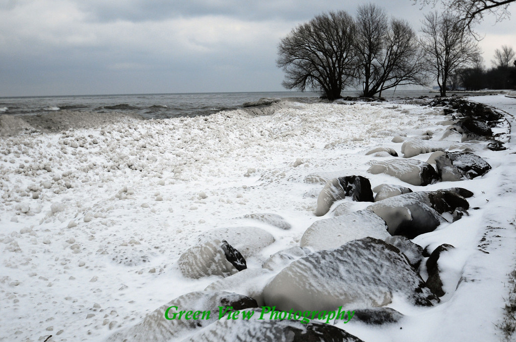 Icy Winter Beach, Hamlin