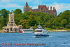 American and Canadian tour boats on the St, Lawrence River bringing tourists to and from Boldt Castle on Heart Island in the 1000 Islands.