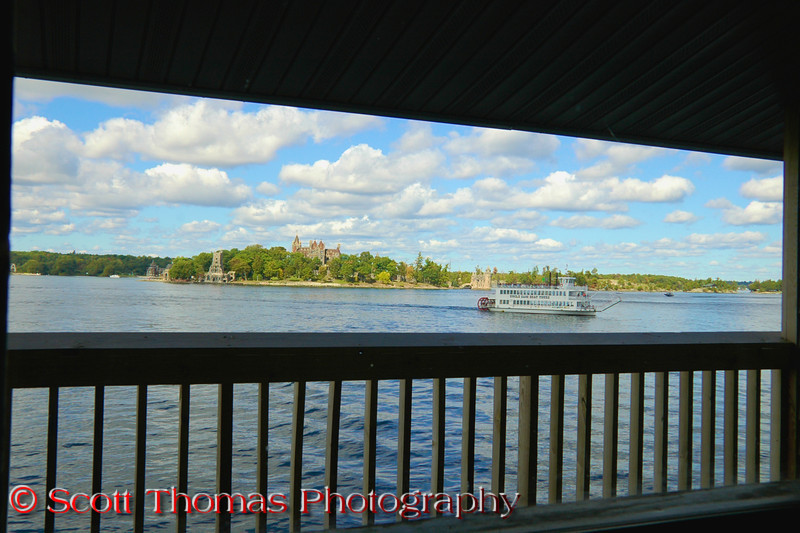 View of Boldt Castle on Heart Island from a room in the Capt. Thomson's Resort, Alexandria Bay, New York.