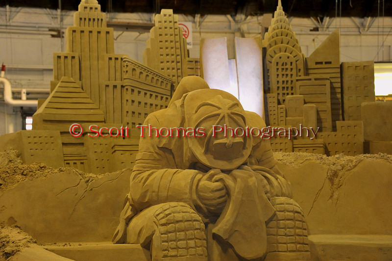 The 10th anniversary of the 9/11 attacks on the World Trade Center, the Twin Towers, is the subject of the 2011 sand sculpture in the Center of Progress building at The Great New York State Fair in Syracuse, New York.