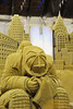 The exhauseted fireman is featured in the sand sculture in the Center of Progress building in The Great New York State Fair in Syracuse, New York.