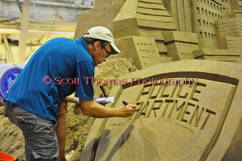 The 10th anniversary of the 9/11 attacks on the World Trade Center, the Twin Towers, is the subject of this year's sand sculpture in the Center of Progress building at The Great New York State Fair in Syracuse, New York.