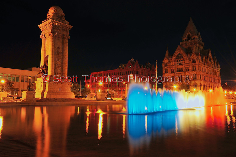 Clinton Square water fountains turned red, white and blue in tribute to the heroes and victims of the tenth anniversary of the 9/11 attacks on the Unitied States on Sunday, September 11, 2011.