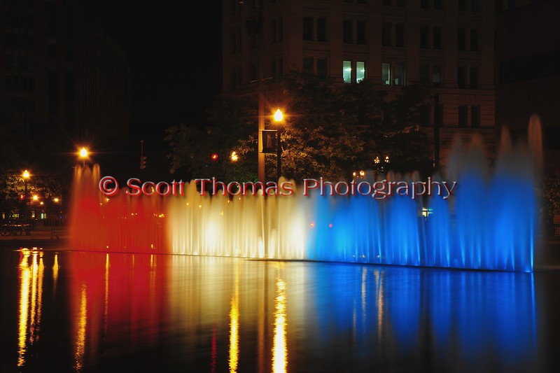 Clinton Square water fountains turned red, white and blue in tribute to the heroes and victims on the tenth anniversary of the 9/11 attacks on the Unitied States on Sunday, September 11, 2011.