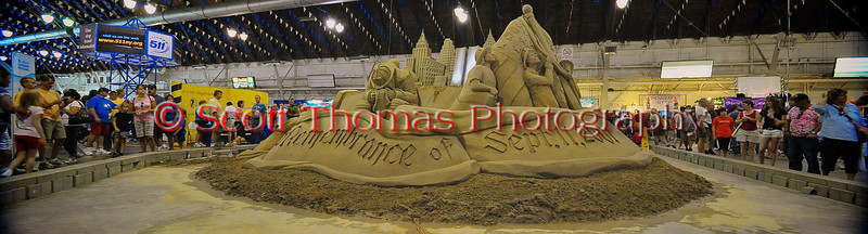 The completed 9/11 heroes tribute sand sculpture in the Center of Progress bulding at The Great New York State Fair in Syracuse, New York.