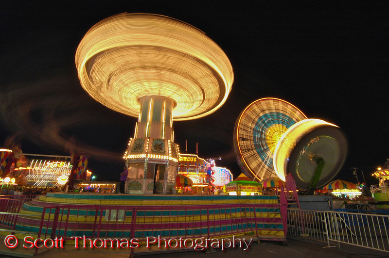 New York State Fair Midway rides at night in Syracuse, New York.