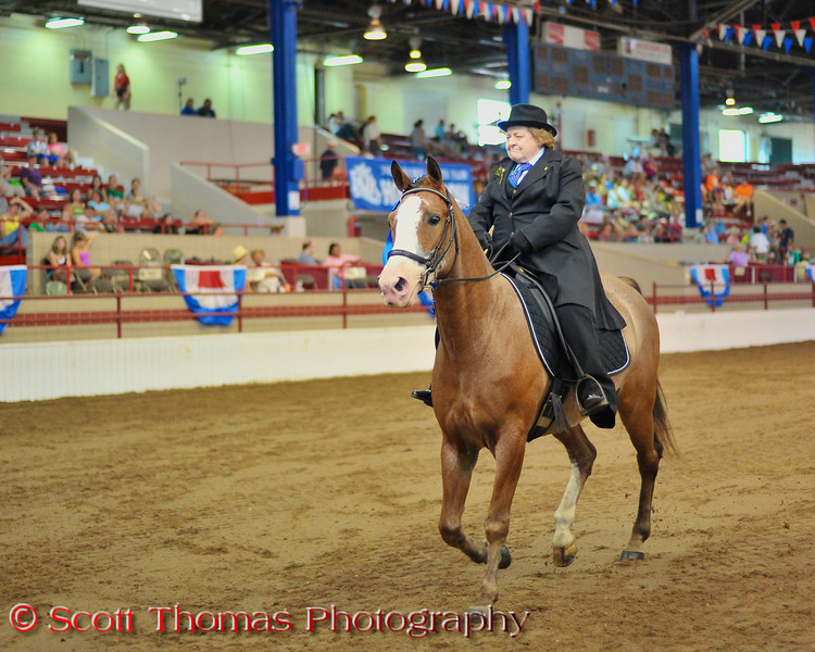 A rider leaves the show ring after competing in a Tennessee Walker class at the Coliseum during the New York State Fair in Syracuse.  [For Non-Commercial Editorial Use Only]