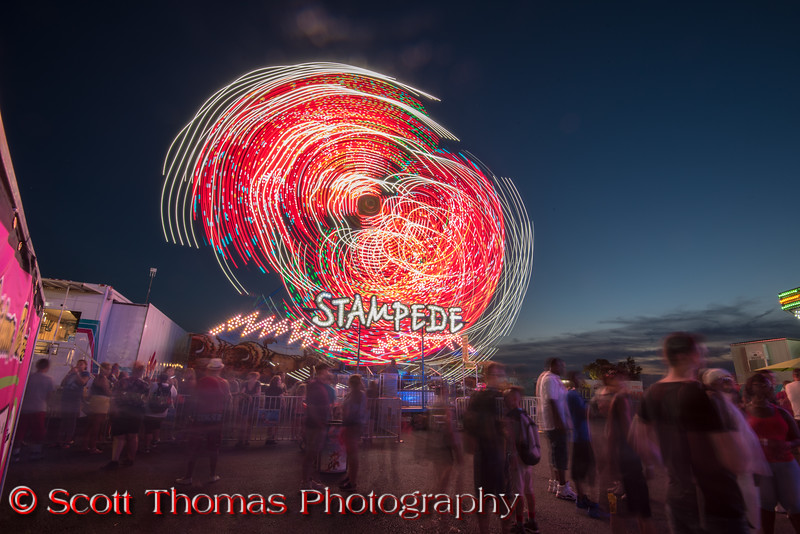 The new Stampede Double Ferris Wheel on the Midway at the New York State Fair near Syracuse, New York on Saturday, August 27, 2016.