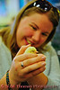 A young woman holds a newly hatched chicken in the 4-H building at the New York State Fair in Syracuse.  [For Non-Commercial Editorial Use Only]