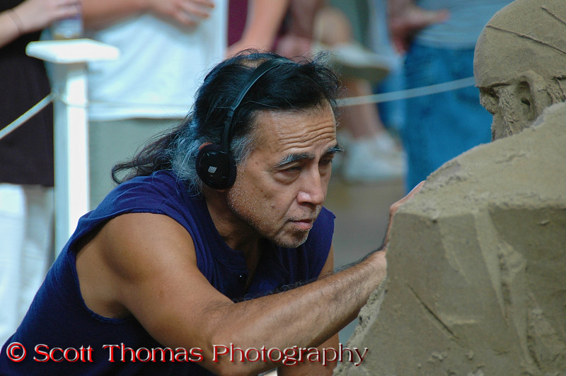An artist works on a sand sculpture at the New York State Fair in Syracuse.  [For Non-Commercial Editorial Use Only]