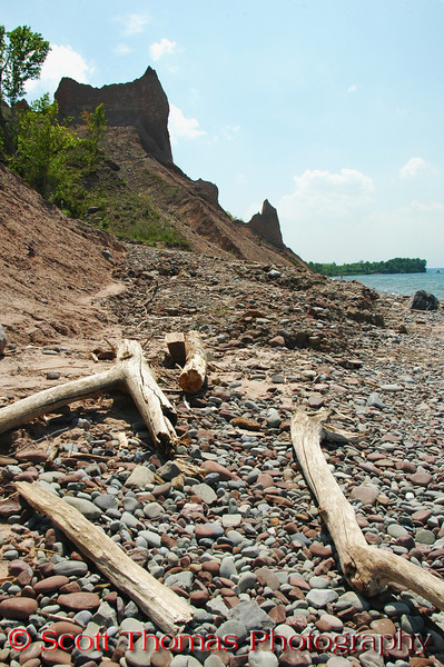 Drift wood from fallen trees on the rocky beach in Chimney Bluffs State Park near Sodus, New York.