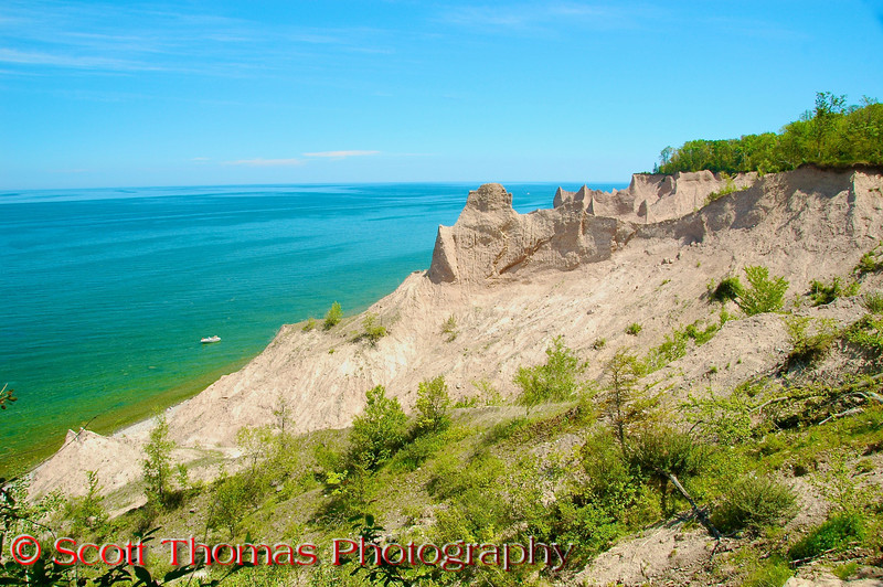 Chimney Bluffs State Park along the shore of Lake Ontario near Sodus, New York.