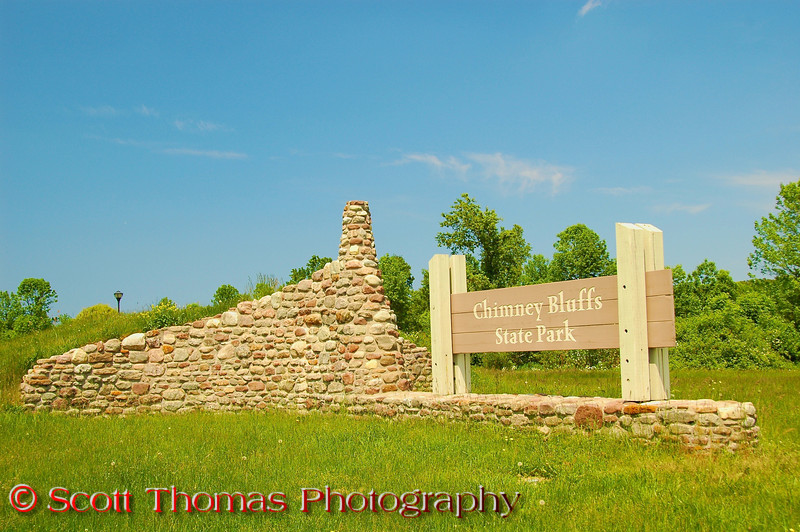 Entrance sign to the Chimney Bluffs State Park near Sodus, New York.