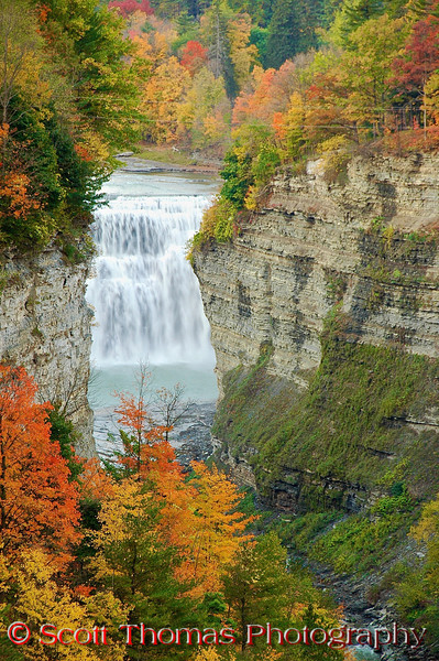 "The colors of autumn frame Middle Falls in Letchworth State Park. The park is located southwest of Rochester, New York is often called the ""Grand Canyon of the East""."