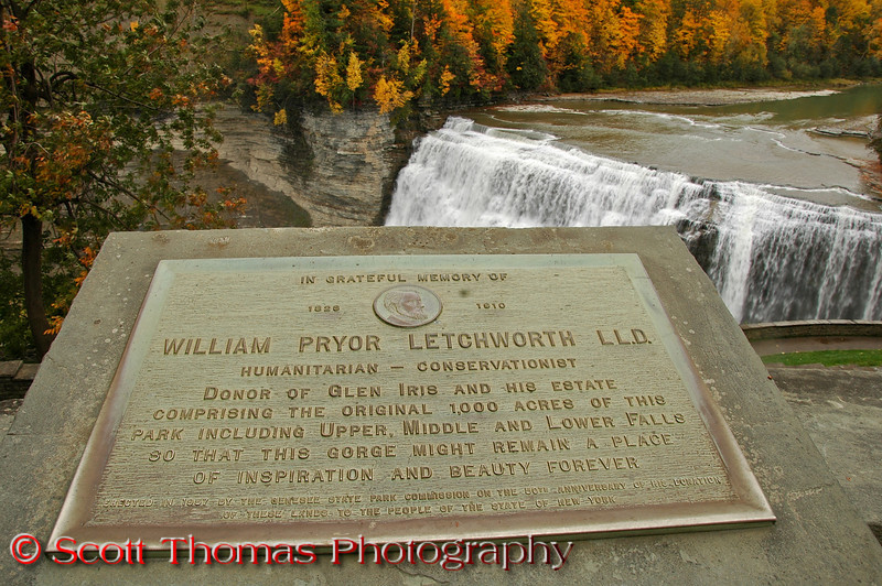 Dedication plaque to William Pryor Letchworth which overlooks Middle Falls in Letchworth State Park.