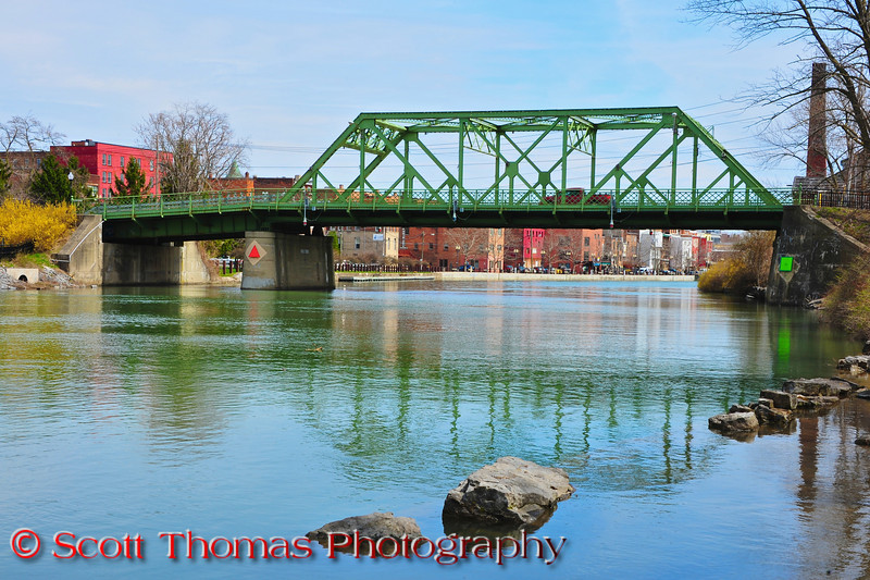 The steel truss Bridge Street bridge spanning the Seneca River in Seneca Falls, New York.