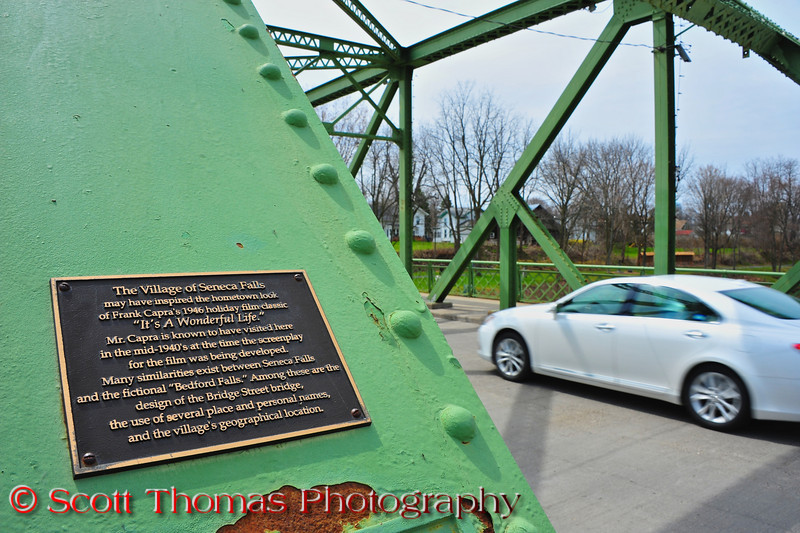 "A plaque on the steel truss Bridge Street bridge in Seneca Falls, New York proclaims it as one of the many similarities to the fictional town of Bedford Falls in the movie, ""It's a Wonderful Life""."