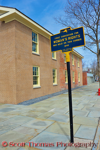 New York State Education Department historical marker near the Wesleyan Methodist Church which was the site of the First Convention for Woman's Rights in Seneca Falls, New York in 1848.