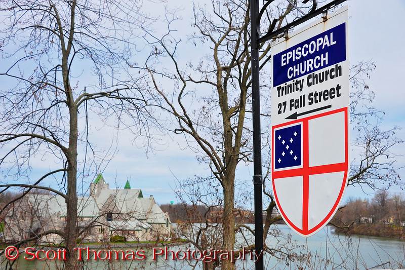 A sign points out the location of the Trinity Church in Seneca Falls, New York.