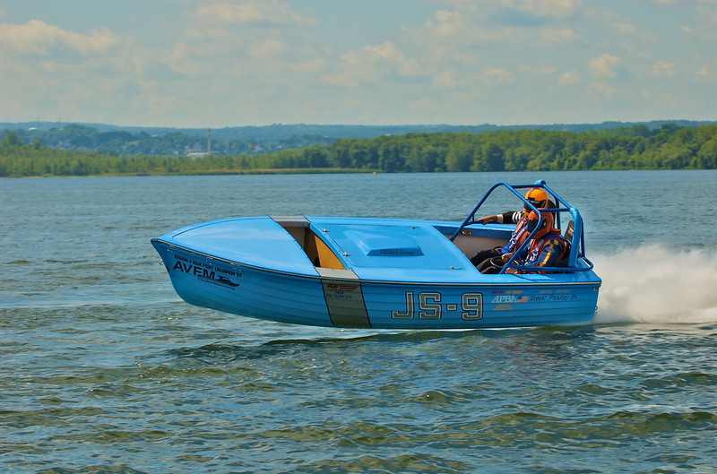The Jersey Skiff racing boat Kentucky Blue (JS-9) racing during the 2010 Syracuse Hydrofest held at Onondaga Lake Park near Liverpool, New York on Sunday, June 20.