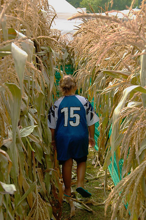 A girl walks through the corn maze at the Beaver Lake Nature Center's Golden Harvest Festival near Baldwinsville, New York.
