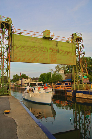 A boat exits Lock 24, one of the busiest locks on the New York Barge Canal system, in Baldwinsville, New York.