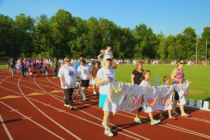 Members of the Drew's Crew walk the Banner Lap with 44 other teams at the 2010 Baldwinsville Relay for LIfe  held from June 18th to June 19th at Pelcher-Arcaro Staduim on the C. W. Baker High School Campus in Baldwinsville, New York.  Drew's Crew raised over $4,400 which goes to the American Cancer Society towards reseach to find cures of cancer.