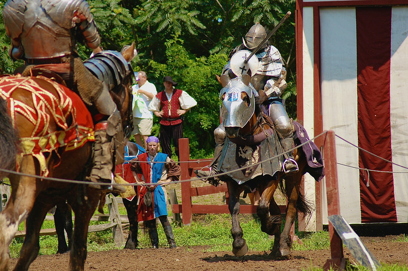 A knight on horseback charges at a joust during the Sterling Renaissance Festival near Oswego, New York.