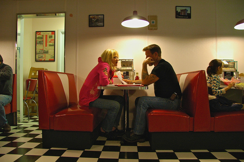 Deciding what to eat at a diner in Lake George, New York