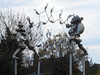 """Jugglers"" sculpture: Liverpool Road / Countess Way Roundabout: Upton"