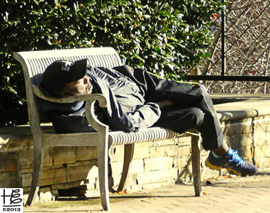 11-13-12 Those of us with a comfortable bed sometimes forget the importance of sweet, comfortable sleep.  It seems this man found some sweet sleep in the sun this afternoon.