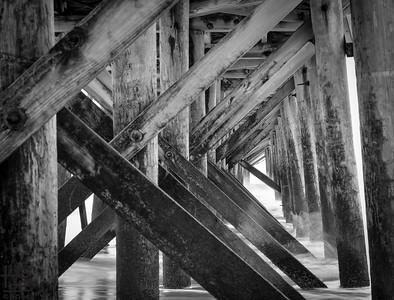 Pier pilings in waves