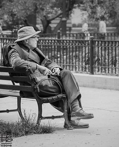 Man on park bench