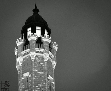 05-16-14 A black & white night view of the Water Tower.