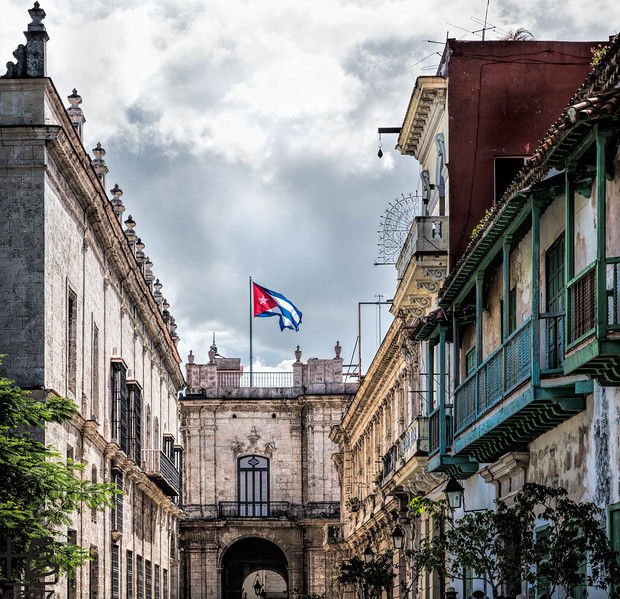 Cuban flag flying