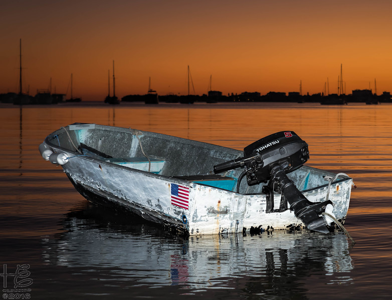 A dinghy at sunse