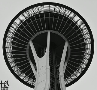 03-23-14 Close-up of Space Needle underside; only cropped & shifted to b&w.
