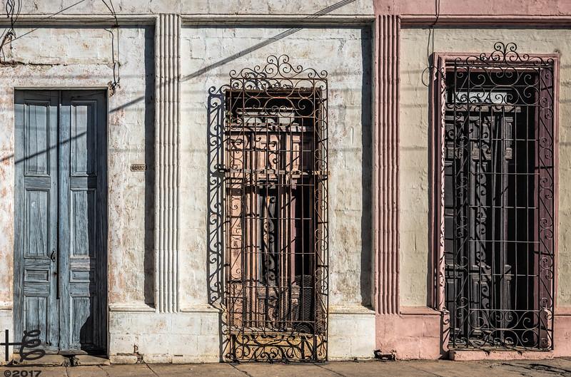 Series of old doorways