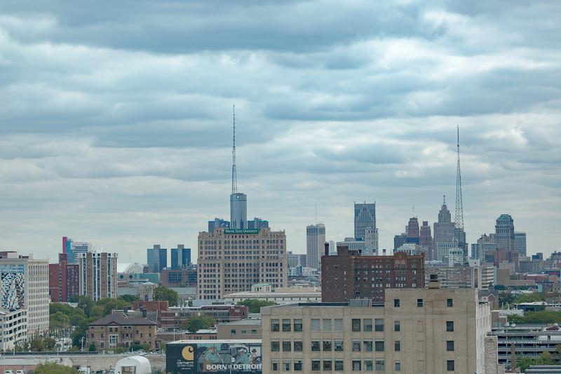 Overcast Detroit Skyline