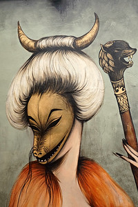 Mural by French artist Miss Van. Miami, FL