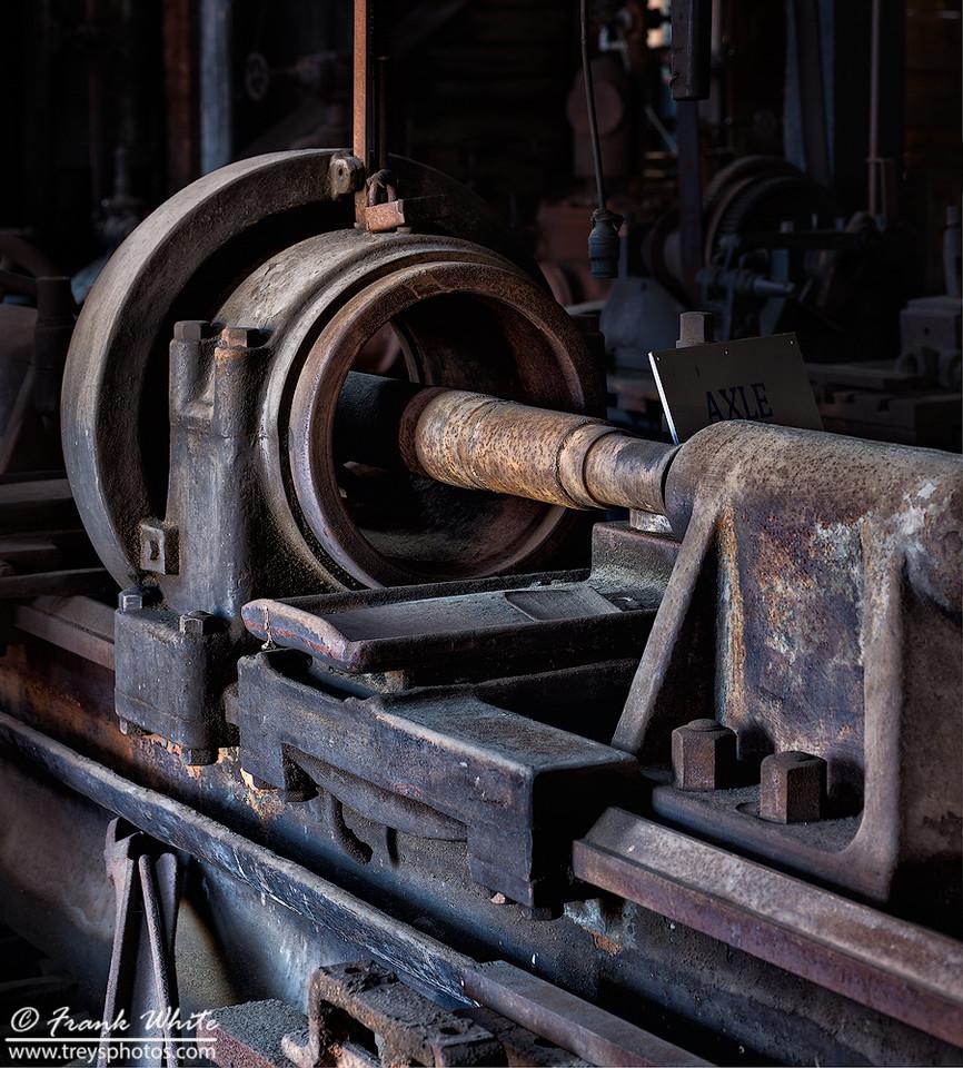 Train axle lathe