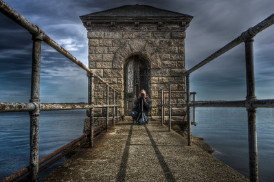 """""""Ed at The Gate House on North Watuppa Pond""""""""  """"The gate-house, where the water is taken from the lake, was built 225 feet from the shore, where the depth of water is yen feet; so that in years of extreme drought, when the lake is sometimes five feet below high-water mark, there is a depth of at least five feet of water at the gate-house and four feet in the pump-well."""""""